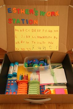 A travel workstation, to keep all the pens and paper in one place and great for travelling too. A free creative station to draw, scrib. Preschool Literacy, Preschool Letters, Preschool Ideas, Kindergarten, Teaching Writing, Writing Skills, Writing Centers, Games For Kids, Activities For Kids