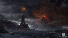 The Lord of the Rings - matte painting 01 Fantasy Story, Fantasy Movies, Fantasy Books, Barad Dur, Fire Works, Epic Movie, The Two Towers, Different Perspectives, Matte Painting