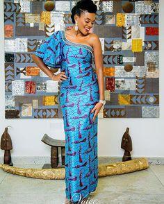 african print ankara silk wax satin fabric dress for wedding and party, blue aso ebi style African Dresses For Women, African Attire, African Fashion Dresses, African Wear, African Women, African Outfits, Ankara Fashion, African Inspired Fashion, African Print Fashion