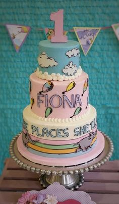 """Dr. Seuss """"Oh the Places You'll Go"""" inspired cake. Cake covered in buttercream and accented with fondant decor."""