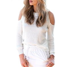 Women's Sexy Cold Shoulder Knitted Pullover Sweater >>> Check out this great product. (This is an affiliate link) #Sweaters