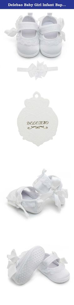 Delebao Baby Girl Infant Baptism Dance Ballerina Slippers with Bow Ribbon (6-9 Months, Shoes & Headband). Please choose the size after measure your baby's feet Specifications: Size 0-6 Months: Heel to toe Length:10cm/3.94inches Size 6-9 Months: Heel to toe Length:11cm/4.33inches Size 9-12 Months:Heel to toe Length:12cm/4.72inches 1inch= 2.54cm Delebao is well known for its baby shoes, we are professional for making baby shoes for more than 10 years. We are serious about product quality…