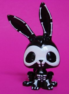 Halloween Skeleton Rabbit OOAK Hand Painted Custom Littlest Pet Shop LPS  #Hasbro