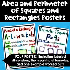 Area and Perimeter of Squares and Rectangles Poster Set Find The Perimeter, Area And Perimeter, Math Words, Writing Words, Math Word Walls, Teacher Newsletter, Meant To Be, Posters, Poster