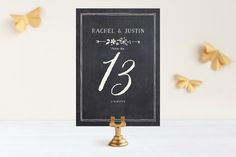 """""""Alabaster Florals"""" - Floral & Botanical, Hand Drawn Wedding Table Numbers in Slate by Jennifer Wick."""