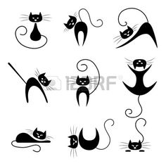 Noir collection de silhouette de chat. Chats dans diverses poses Banque d'images