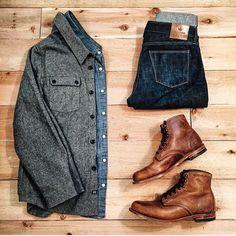 This winter Jacket-Wwolfandman Shirt- JCrew Boots- Wolverine Jeans- NA Gents Fashion, Fashion Wear, Fashion Outfits, Fashion Trends, Outfit Jeans, Stylish Men, Men Casual, Look Man, Mode Chic