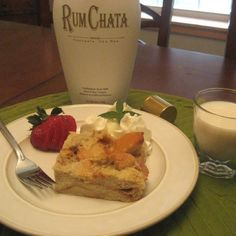 Pinner said: My FAMOUS Rum Chata bread pudding. 3-4 cups cubed French bread, 4 eggs lightly beaten with 1 cup rum chata, 1 cup milk, 1/8 t vanilla, 1/4 t cinnamon, pinch nutmeg, 2 t  splenda or 1-2 T sugar (or more; depends on how sweet you prefer). Raisins optional. Spray 2-qt dish and bake @ 350 for about 35 min. Serve with whipped cream.  **the booze does NOT bake out!!