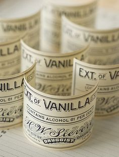 Vintage pharmacy labels - perfect for home-made bottles of Vanilla Extract..with some editing,