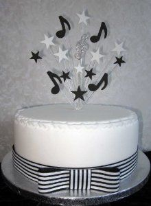 Musical Note Cake Topper Black And White With Diamante Treble Clef Suitable For A 20cm Cake: Amazon.co.uk: Kitchen & Home