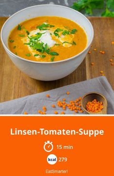 Lentils and tomato soup- Linsen-Tomaten-Suppe Lentil and tomato soup – smarter – Calories: 279 kcal – Time: 15 min. Healthy Dinner Recipes, Vegetarian Recipes, Breakfast Recipes, Snack Recipes, Simple Sesame Noodles, Crockpot Recipes, Soup Recipes, Red Lentil Soup, Vegetarian Food
