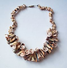 Vintage Huge Shell Necklace  Insides of Shells  by vintagedazzle