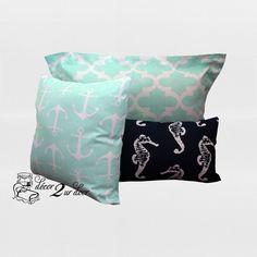 Mint & Navy Nautical Designer Pillows.