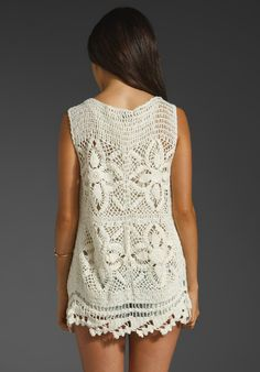 Diy Crafts - Lace top blouse jacket crochet handmade custom by Irenastyle Gilet Crochet, Crochet Blouse, Knit Dress, Moda Crochet, Crochet Lace, Crochet Tank Tops, Vintage Crochet Patterns, Bikini, Vests