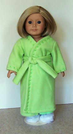 American Girl Doll Clothes - Apple Green Fleece Robe