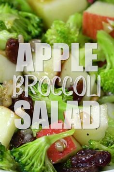 Easy, Healthy broccoli salad with raisins, apples and no mayo recipes healthy easy lunches Salade Healthy, Salad Recipes Healthy Lunch, Salad Recipes For Dinner, Chicken Salad Recipes, Easy Salads, Easy Healthy Recipes, Healthy Mayo, Chicken Salads, Beef Recipes