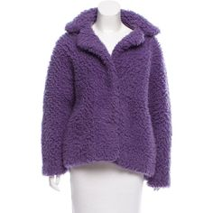Pre-owned Sandro Oversize Textured Coat (3.755 CZK) ❤ liked on Polyvore featuring outerwear, coats, purple, texture coat, sandro coat, purple coat, sandro and long sleeve coat