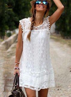 Women's Fashion Sleeveless Lace Mini Dress