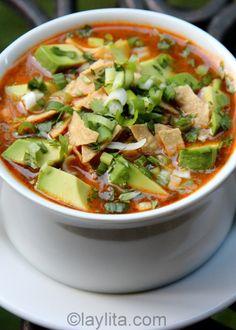 Turkey Tortilla Soup  http://laylita.com/recipes/2011/11/25/chicken-or-turkey-tortilla-soup-recipe/