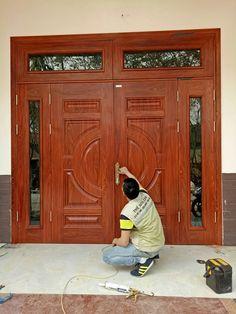 Wooden Front Door Design, Double Door Design, Wooden Front Doors, Home Door Design, Door Design Interior, Double Doors Exterior, Double Front Doors, Balcony Grill Design, Modern Wooden Doors