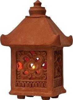Terracotta Clay Garden Lantern (scrolling design)