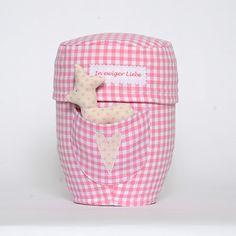 Urne Karo Rosa mit Tasche, Name oder Spruch und Tröstertier Reh