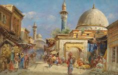 Orientalisches Strassenmotiv Carl Wuttke Bagdad, Öl auf Holz, ca. 13 x 20 cm 1927