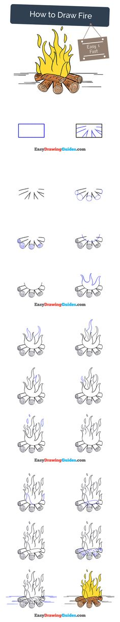 Learn How to Draw a Campfire: Easy Step-by-Step Drawing Tutorial for Kids and Beginners. #fire #campfire #drawing #tutorial. See the full tutorial at https://easydrawingguides.com/how-to-draw-a-fire/
