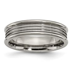 Chisel Titanium Grooved and Beaded 6mm Band
