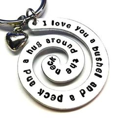 Hand Stamped Keychain I love you a bushel and by BeeBaublesJewelry