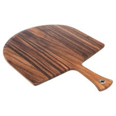 Craft your own flatbreads and focaccia with this acacia wood pizza peel, featuring a slanted edge for easy pick-up. Prod...