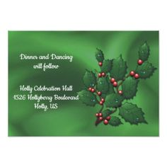 Holly Berries on Green Wed Party Reception Card - Xmas ChristmasEve Christmas Eve Christmas merry xmas family kids gifts holidays Santa