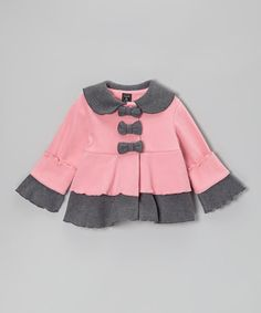 Rose Pink & Gray Bow Tiered Jacket - Infant, Toddler & Girls