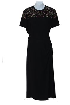 Vintage 1940s Black Cocktail Dress, sequin embellishment and swag, approx. UK Size 12