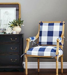 Gingham chair with classic lines