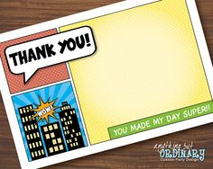 Superhero Thank You Card, DIY Flat Card, ThankYou Note, INSTANT DOWNLOAD, digital printable file