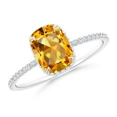 Angara Nature Inspired GIA Certified Round Citrine Floral Ring Su96d