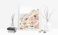 Greece Santorini Digital Painting/ Poster/ Digital Copy/ Home