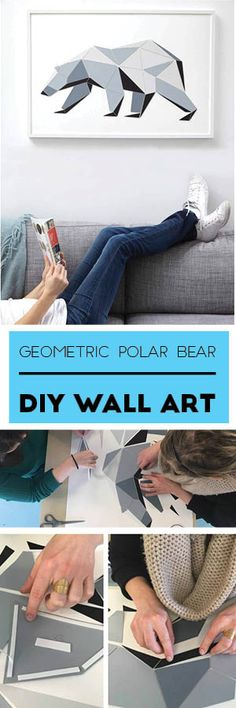 Fill that blank wall in your office with DIY modern art! This simple geometric polar bear craft is both an affordable decor idea AND fun team-building activity.