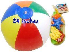 "Jumbo Inflatable Beach Multi Color Ball 24"" And Sand Mold And Shovel Set 5 Piec"