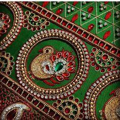 Peacock Blouse Designs, Sari Blouse Designs, Bridal Blouse Designs, Peacock Design, Tambour Embroidery, Embroidery Motifs, Hand Embroidery Designs, Patch Work Blouse Designs, Hand Work Blouse Design