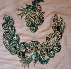 Embroidery Motifs, Bead Embroidery Jewelry, Ribbon Embroidery, Churidar Neck Designs, Motifs Perler, Sewing Circles, Panel Dress, Leaf Design, Irish Crochet