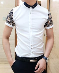 Slimming Trendy Shirt Collar Ethnic Pattern Print Splicing Short Sleeve Cotton Shirt For Men Formal Shirts For Men, Cotton Shirts For Men, Mens Fashion Wear, Fall Fashion Outfits, Online Shirt Shopping, Short Sleeve Collared Shirts, Collar Shirts, Shirt Collar Pattern, Outfit Grid
