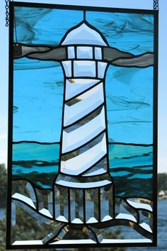 Bevel lighthouse panel by Barbara's Glassworks