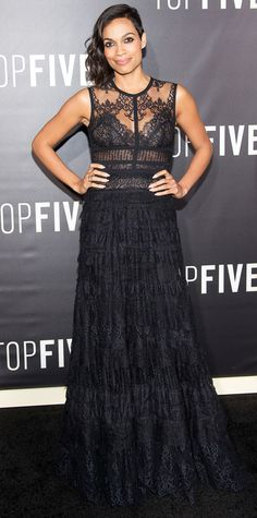 Look of the Day - December 6, 2014 - Rosario Dawson in Elie Saab from #InStyle