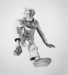 """Carbón y grafito  Joel Daniel Phillips hizo una serie de dibujos titulados """"No Regrets hechos con carbón y grafito, estos retratos representan personajes que el artista encontró fuertes de espíritu. Tal es la calidad de estas ilustraciones que a simple viste parecen fotografías."""