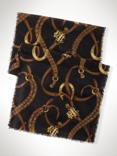 Wool Bridle-Print Scarf - Lauren Hats, Gloves, & Scarves - RalphLauren.com