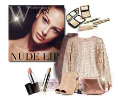 """Nude Lip"" by mharvey ❤ liked on Polyvore featuring beauty, AG Adriano Goldschmied, Alice + Olivia, Alexander Wang, Laura Mercier, Estée Lauder and Clinique"