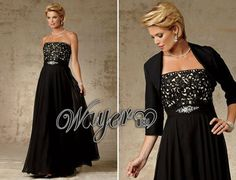 HL-MB0147 Elegant 3/4 Sleeve A-line Embroidery Beaded Black Evening Gowns plus size US $115.00