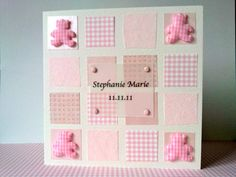 Personalised newborn baby girl card in pink by FluffyDuck on Etsy, £3.25